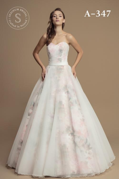 Super Suknia ślubna A 347 Różowe Kwiaty - Bolerka, welony i inne dodatki SE27